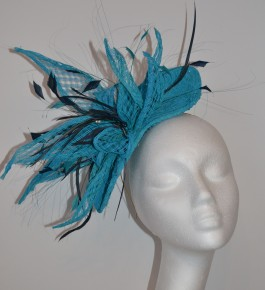 Turquoise Lace & Navy Head Piece