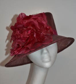 Claret & Rose Asymetric Hat