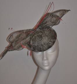 Striking Snake Skin Bow Beret Headpiece