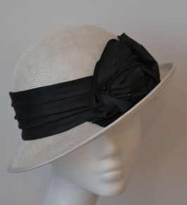 White & Black Petite Cloche Hat